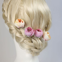 Jewelry Wholesale!!! 2016 NEW Fashion Wedding Hair Accessory Man-made Rose Flower Bridal Hair Stick Hair Pin MoonSo KH2610