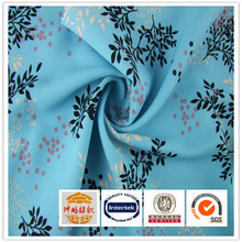 New pattern 100%polyester blue floral digital print silk satin fabric for dress