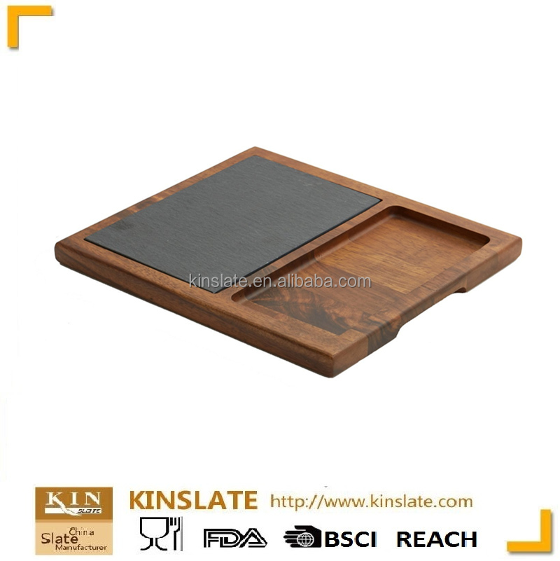LFGB and BSCI passed rectangular Acacia wooden black slate plate for dinnerware