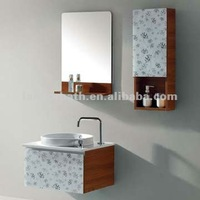 Latest modern wall mounted glass door bathroom cabinet vanity set with sink and mirror storage wooden shelf side cabinet FS068