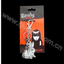 Japan cartoon metal key chain with paper card for promotional