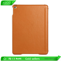 Litchi Pattern Orange Color Genuine Leather Case for iPad Mini with Stand