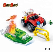 BanBao 7118 Hot Sale New Fire Motorcar DIY Plastic Building Blocks Toys with Boat for Kids Compatible with Legos
