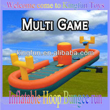 Multi inflatable bungee run with basketball hoop