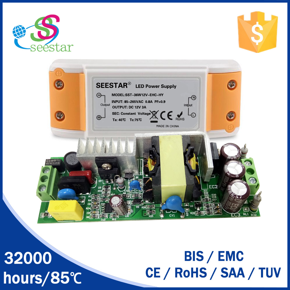 CE listed high pf constant voltage 30w 36w 12v 24V led driver 3A with 3 years warranty