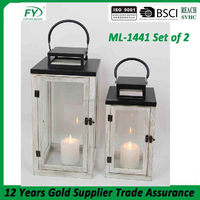 Antique finish white garden decoration wood candle lantern with glass panels ML-1441 set of 2