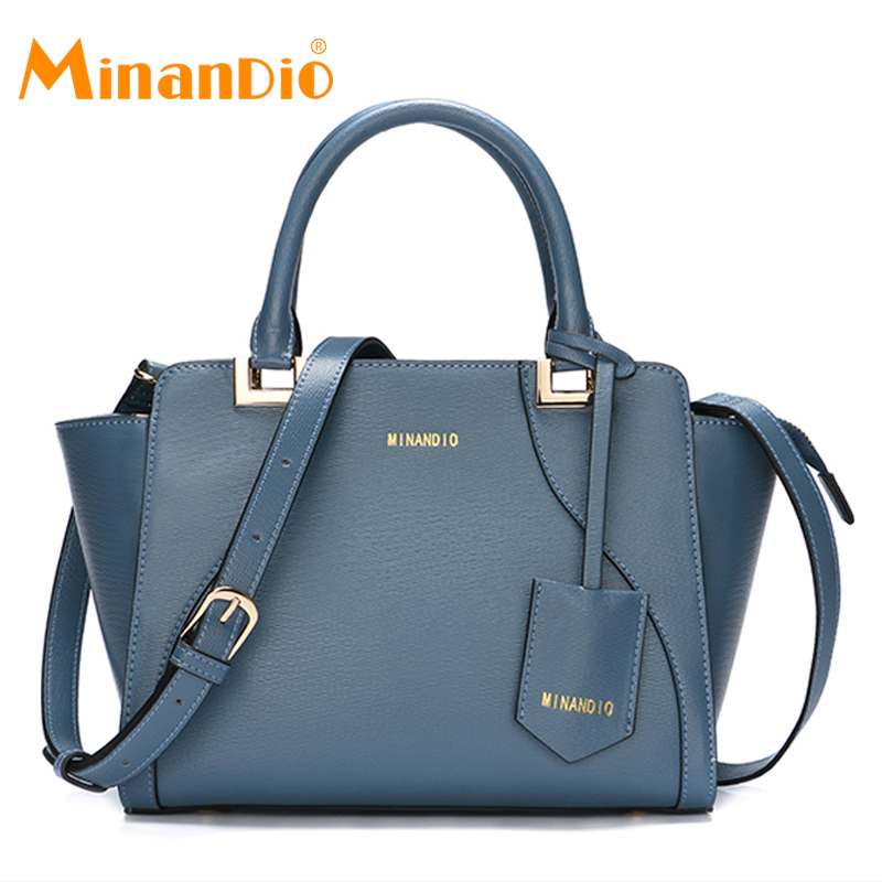 MINANDIO Genuine leather handbag sets ladies leather bucket bag 2017 OEM factory custom