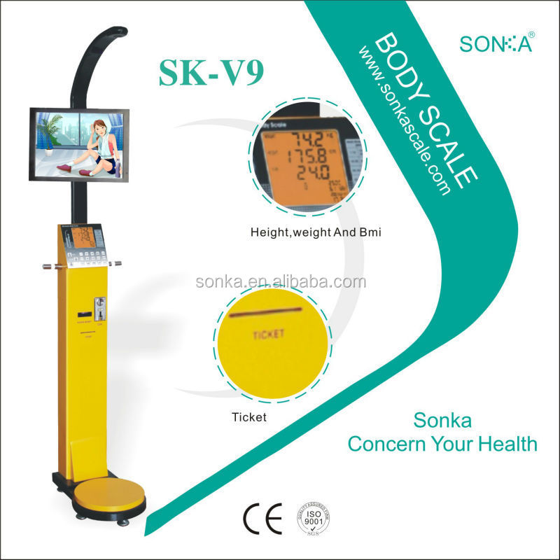 Ultrasonic Cable Height Meter SK-V9 Measure Weight Height Fat With Coin Acceptor