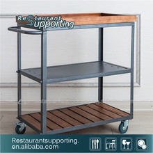 Wooden Restaurant Food Service Trolley / Kitchen Trolley With 3 Food Trays