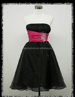 BLACK & PINK STRAPLESS PRETTY JEWELLED PARTY PROM COCKTAIL DRESS 16-18