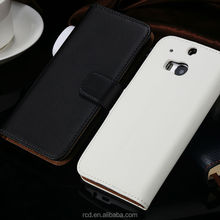 New Arrival Side Open Real Leather Case Flip Cover for HTC ONE M8 Waterproof RCD03888