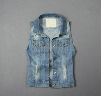 custom lady's jeans wear make to order womens denim vest lady's fashion denim waistcoat