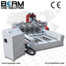 Rotary axis machine wood cnc router BCM1313-4 head with Hybrid servo motor and drivers