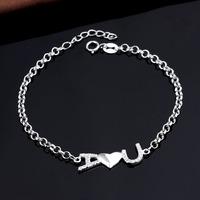 I LOVE U Romance Girl Friend Gift 925 Sterling Silver Adjustable Chain Link Bracelets