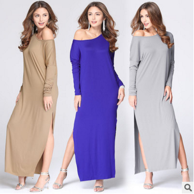 F20082A sexy lady dress long sleeve solid color summer maxi dress