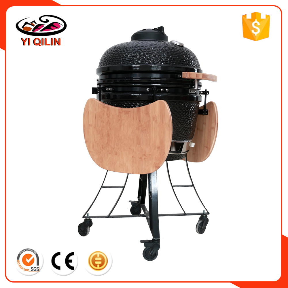 "TOPQ 25""Custom Ceramic Kamado Smoker Charcoal BBQ Barbecue Grills Portable"