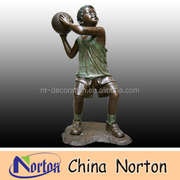 Playing basketball bronze child sculpture NTBH-C054