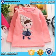 2016 New Fashion Girls tops designs long sleeve cartoon embroidered tops for wholesale
