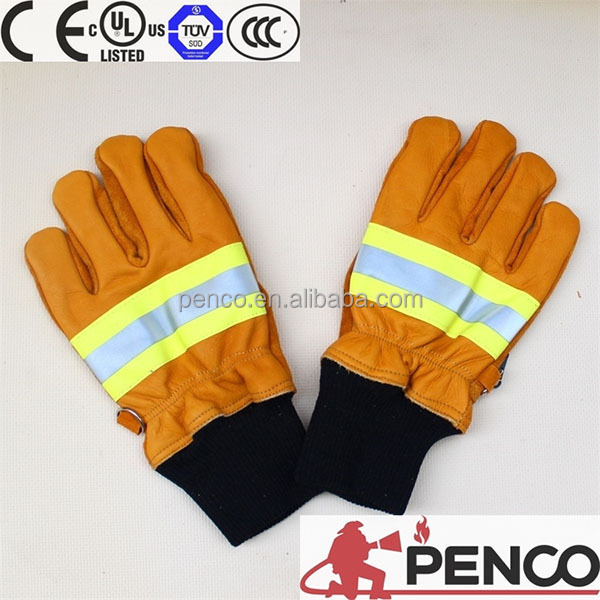 fire fight gloves 3m reflector cowhide on palm hand fingers protected fabric fire rescue gloves