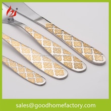 Factory wholesale gold plated cutlery Diamond Pattern,Exquisite Craft Luxury Flatware, different kinds of flatware set