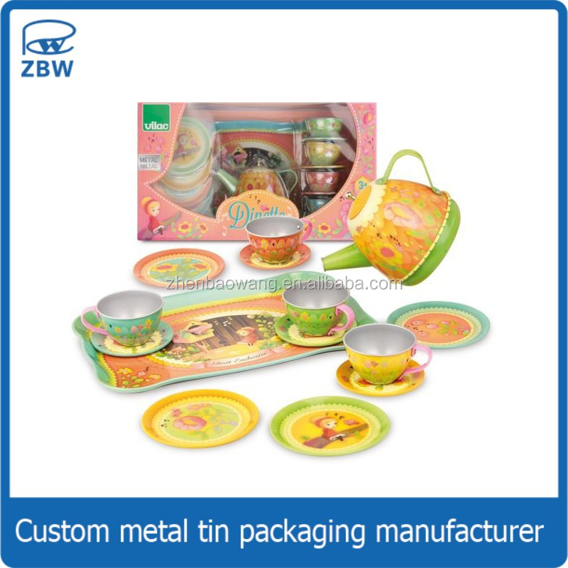 Hot sale customized kids gift tin wholesale toy small metal tea set