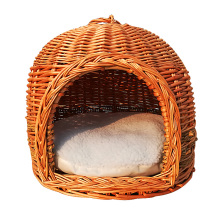Wicker woven pet nest willow dog nest to export pet bed