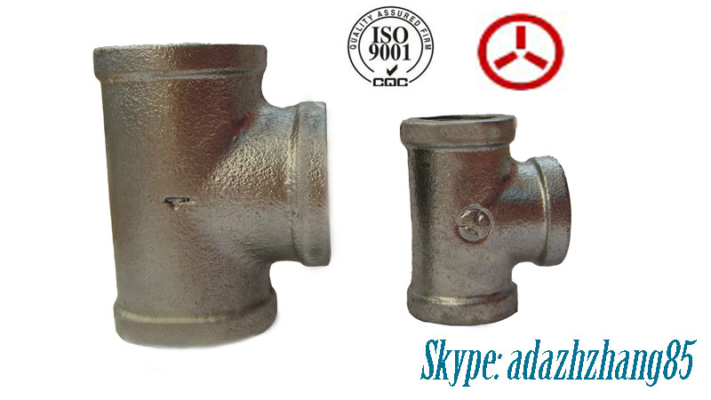 130 Tee black Malleable cast iron pipe fitting Thread Galvanized /Manufacturer