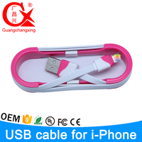 1m pink color removable mobile phone use 8pin micro flat usb cable for iphone