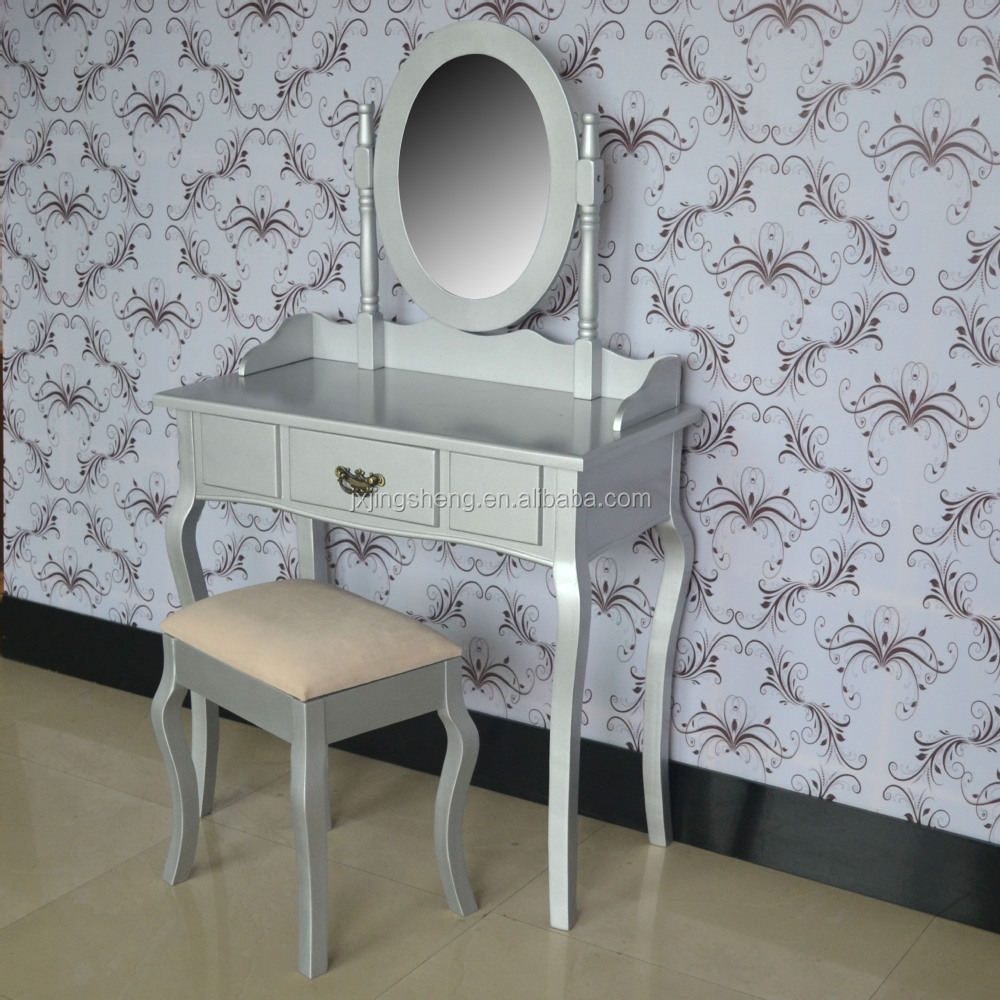 French shabby chic finish solid wood silver dressing table with mirror