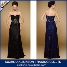 Flamboyant Floor Length Sweetheart Strapless Beaded Lace Real Sample Pictures Evening Dresses