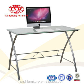 Steel office table glass computer desk on cheap price