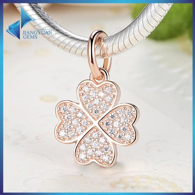 Silver Pendant Mirco Pave CZ Diamond Four Leaf Clover Flower Charms Bead
