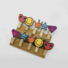 promotional gifts many style flower stars shape wooden clips photo clips
