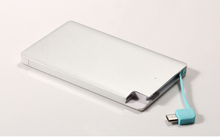 Ultra Thin Metal Promotional Gift Power Bank 2600mAh Credit Card Power Bank With Built-in Cable