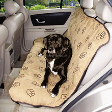 Luxury Dog Cat Pet Car Back Seat Back Bench Cover Quilted Padded Washable Protector Paw Printing