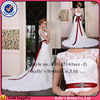 Best selling Appliqued french lace with a quite long train & red and long satin ribbon of bridal dresses for a prices