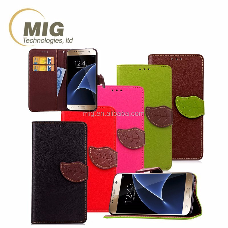 2016 leaf style PU leather mobile phone flip cover case for samsung galaxy s4 with lanyard and money cards slots