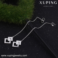 92364 xuping line earring crystal inlayed cz stud style dulhan accessories cup chain earring