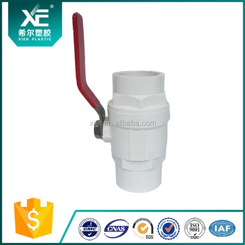 Stainless Handle of Two Pieces Plastic PVC Ball Valve / UPVC Ball Valve Socket and Thread