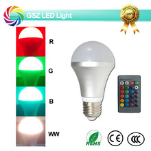Quality products RGB led bulb aluminum housing e27 4W remote control 16 color changing led