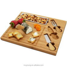 100% Natural Bamboo Cheese Cutting Board Knife Set with Ceramic Dish