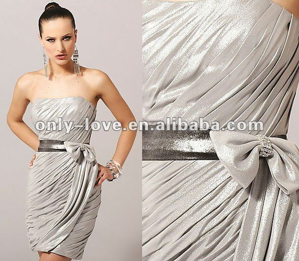 Elegant strapless short ruffled bow sash party cocktail dresses OLC075