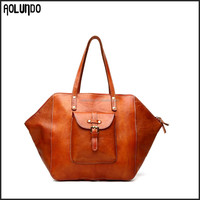 Popular European retro style 100% genuine leather vintage women handbags