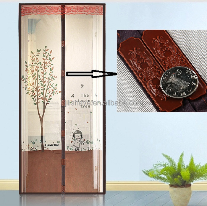 2017 OEM&ODM Printing Magnetic screen door with top lace