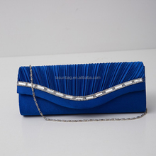 Hot Sale Fashion Women high quality PU leather portable purse bags blue flash night party shoulder bag
