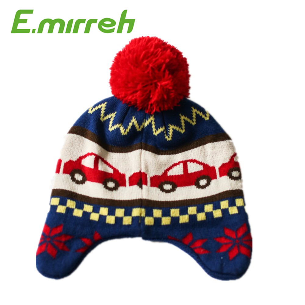Kids winter knitted earflap hat beanie hat warm cap and hat
