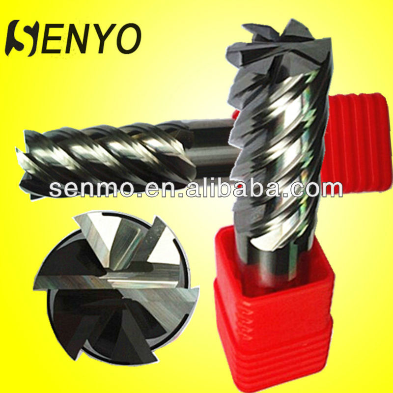 Tungsten Carbide Straight Shank 6 Flute Endmills/CNC Finishing End Mill Router Bit For Steel