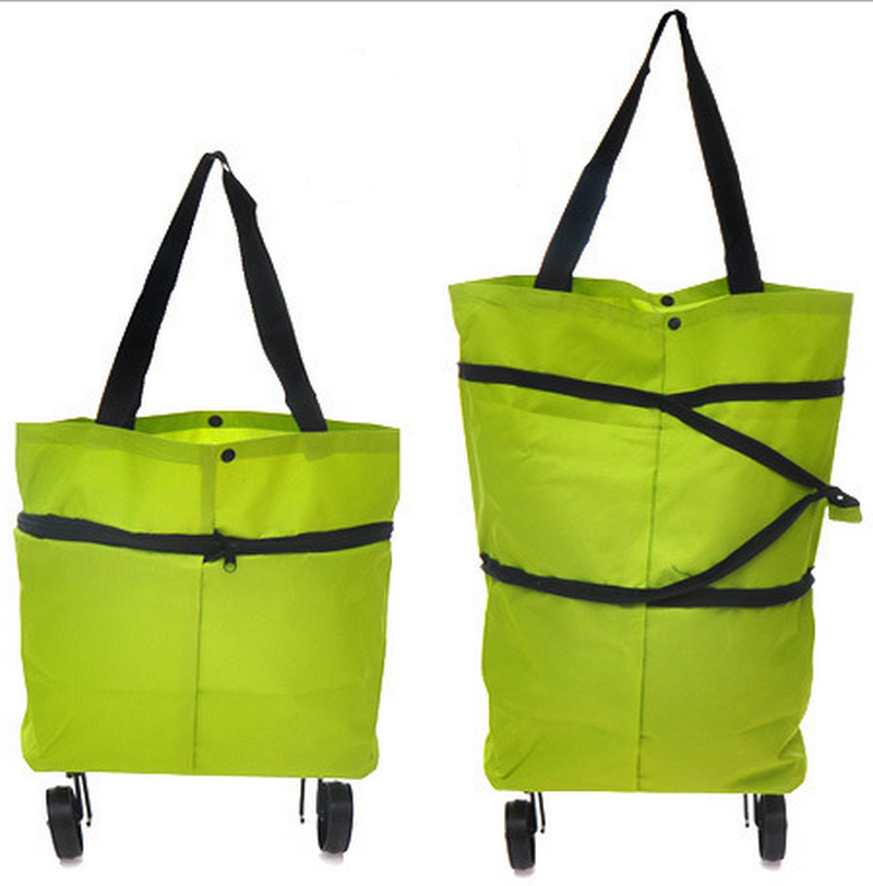 Green polyester grocery foldable vegetable shopping trolley bag with 2 wheels