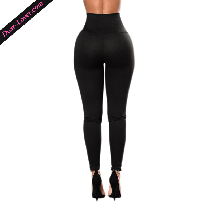 Ladies Black Lace-up High Waist Sexy Leggings Leg Wear