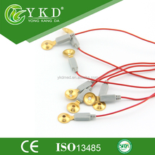 EEG Red Cable With Gold Electrode Cap Medical Brain Leadwires 1.5 male DIN Gold Electrodes molded end